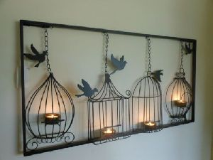 Birdcage Tea Light Wall Hanging Metal Candle Holder