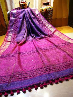 Metallic Matka Silk Cut Work Sarees