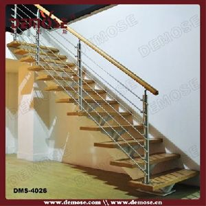 Inox Balustrade Wooden Straight Staircase