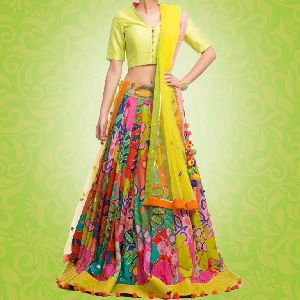 Printed Lehenga With Plain Choli