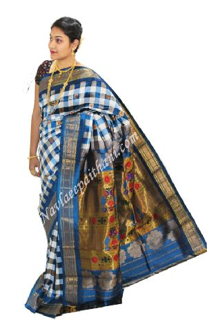 Blue Boarder In Maharani Paithani Silk Saree.