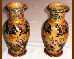 Soap Stone Hand Painted Vases