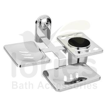 Stainless Steel Double Soap Dish With Toothbrush Holder