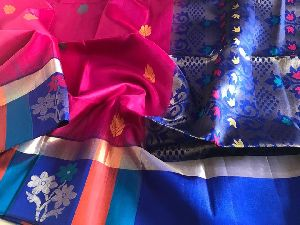 Gadwal Soft Silk Saree With Multi Colour Border And Weaving Butis All Over Saree