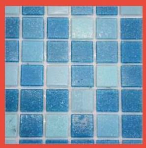 Sky Blue Glass Mosaic Tile