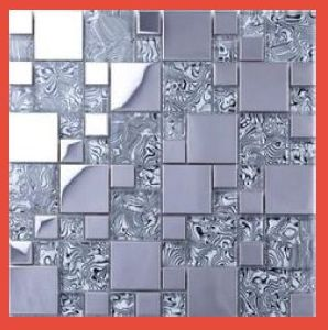 Stainless Steel Kitchen Glass Mosaic Tile