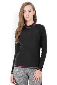 Women's Black Long Sleeve Sun Top