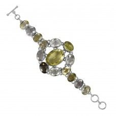 Crystal Gemstone Sterling Silver Bracelet