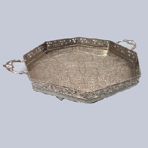 Hexagonal Shape Engraved Silver Plated Tray