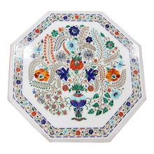 White Marble Micro Mosaic Inlay Table Top