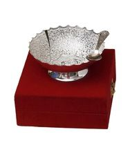 Brass Bowl Set With Spoon Silver Plated With Velvet Gift Box