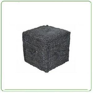 Cotton Printed Cube Pouf