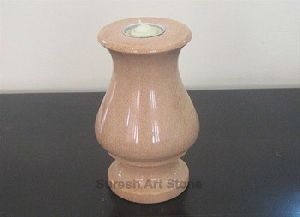 Pink Granite Candle Stand