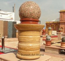 Pink Granite Rotating Ball Fountain