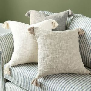 Cotton Cushion Cover With Tassels On Corner