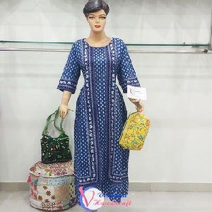 100% Cotton Indian Jaipuri Hand Block Printed Cotton Long Kurti Speciality Fabrics