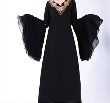Black Bat Sleeve Abayas With Embroidery