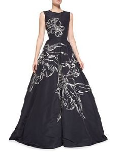 Sleeveless Floral-embroidered Gown