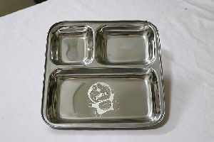 3 Compartment Stainless Steel Plate