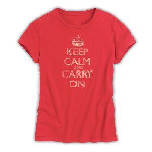 Ladies Cotton Round Neck Printed T-shirt