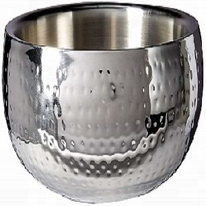 Hammered 11-inch Round Stainless Steel Double Wall Serving Bowl
