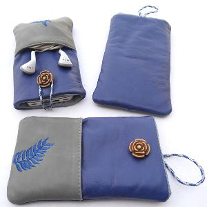 Blue and light grey leather front pocket
