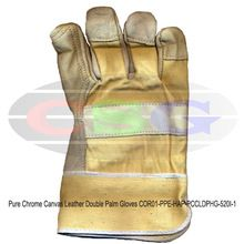 Pure Chrome Canvas Leather Double Palm Gloves