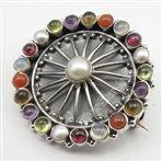 Multistones Oxidized Indian Jewelry Chakra Broach Brooch