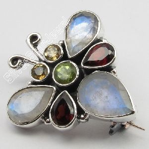 Silver Natural Multistones Butterfly Style Broach Brooch
