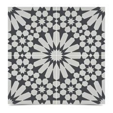 8x8 Inch Windcroft Handmade Tiles, Set Of 12, Black And White
