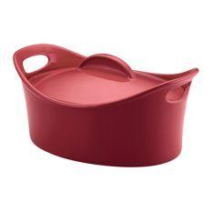 Rachael Ray Stoneware Casseroval 4.25-quart Covered Baking Dish Red