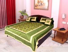 Ethnic Silk Floral Embroidered Bed Cover