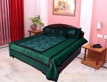 Jaipuri Silk Sun Embroidered Bed Cover 5 Pcs Set
