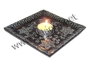 Black Soapstone Tealight Candle Plate