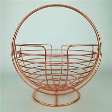 Round Copper Wire Mesh Fruit Vegetable Basket