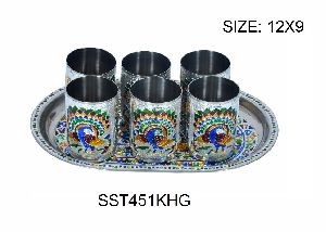 Silver Meenakari Serving Tray