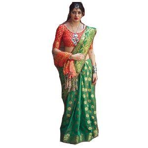 Plain Satin Fabric Saree