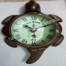 Vintage Antique Brass Tortoise Wall Mount Desk Clock