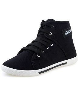 Men's Synthetic Leather Black Sneakers Shoes