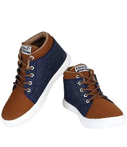 Men's Synthetic Leather Brown Sneaker Shoes