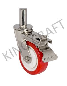 Stainless Steel Fabricated Caster On Polyurethane Wheel Pin Type