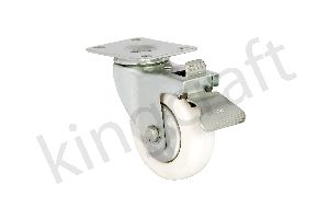 Zinc Plated Die Pressed Caster On White Polyproplene Wheel