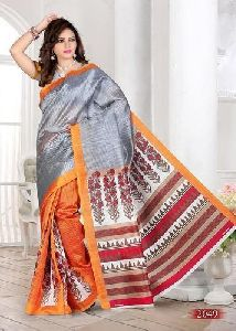 Half N Half Cotton Printed Saree
