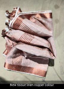 Linen Copper Zari Saree