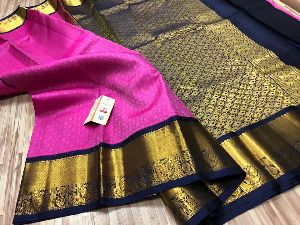 Pure Kancheepuram Handloom Korvai Border Pattu Silk Sarees With Rich Pallu N Contrast Blouse- 7000+s
