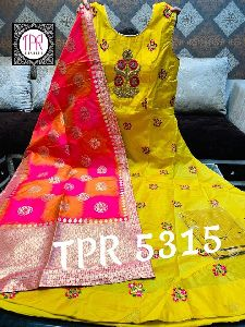 Pure Silk Front Embroidered Gown From Tpr 5315 Collection