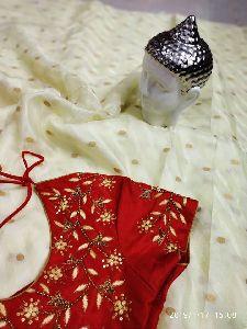 Beautiful Jute Silk Sarees With Gold Boota And Self Design