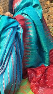 Pure Tussar Ghicha Silk Sarees With Weaved Temple Border