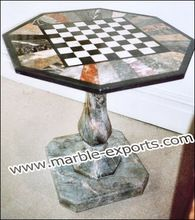 Antique Marble Inlay Chess Design Table Top