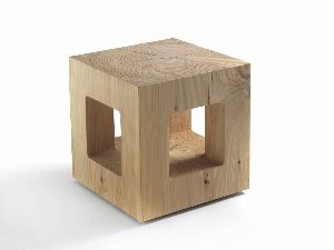 STO04- SOLID WOOD CUBE STOOL